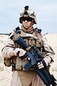 stock photo of protective eyewear  - US marine in the MARPAT uniform and protective military eyewear - JPG