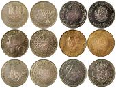 stock photo of shilling  - old coins of different countries isolated on white background - JPG