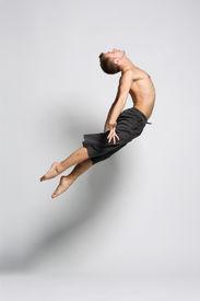 picture of ballet dancer  - modern ballet dancer posing over white background - JPG
