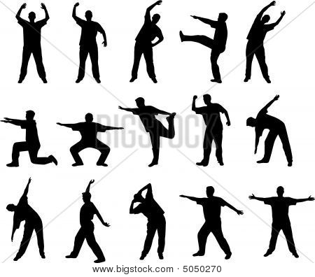 Exercise And Stretch Out Silhouettes