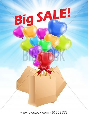 Sale advertisement with baloons and shopping bags