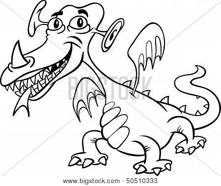 Cartoon Monster Or Dragon For Coloring