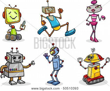 Robots Or Droids Cartoon Illustration Set