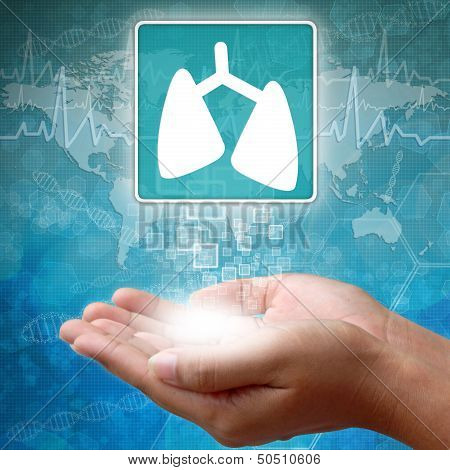 Medical Icon Lung In Hand