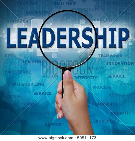 Leadership In Magnifying Glass On Blue Background