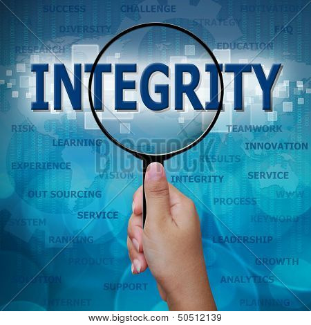 Integrity In Magnifying Glass On Blue Background