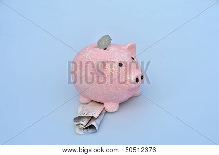 Piggy bank with coin and notes