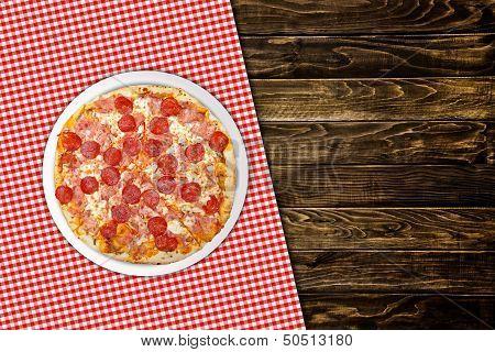 Pepperoni Pizza On Wood Table