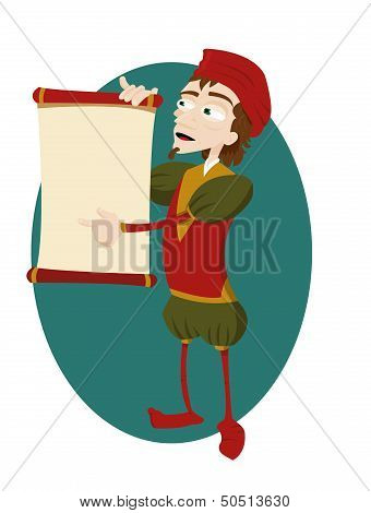 Funny Herald Showing A Blank Scroll