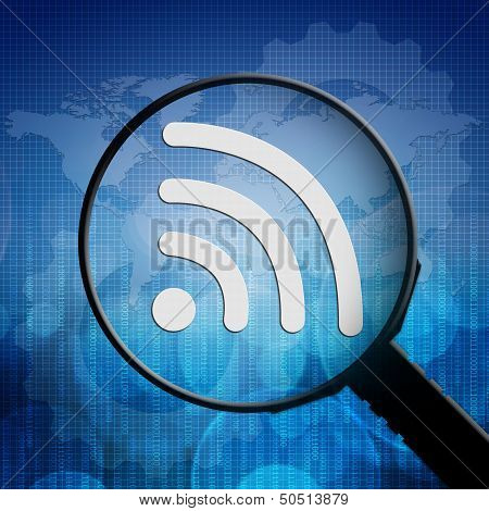Wifi Symbol In Magnifying Glass