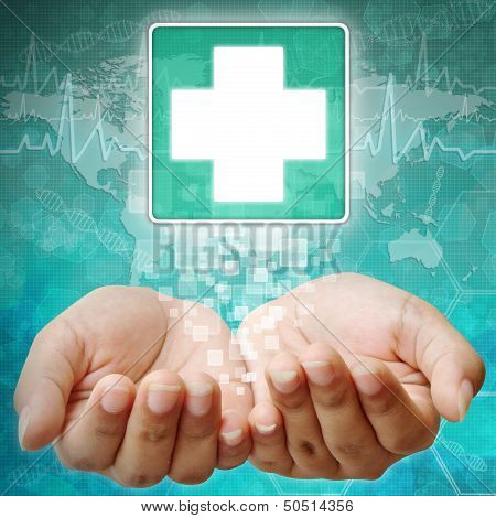 First Aid Symbol On Hand, Medical Background