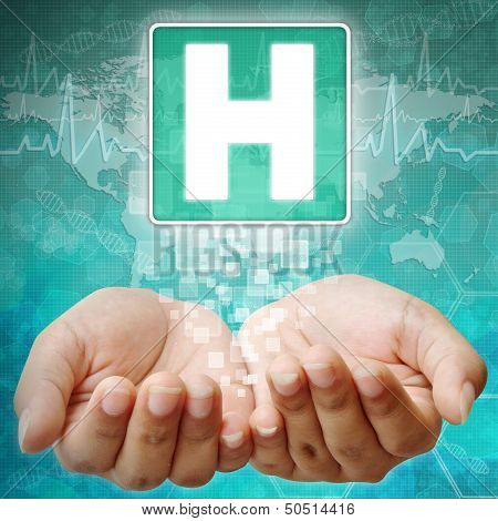 Hospital Symbol On Hand ,medical Background