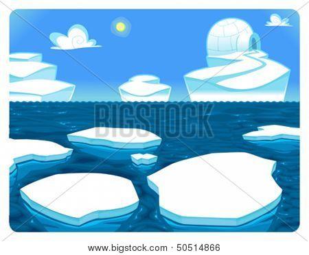 Polar scene. Vector and cartoon illustration