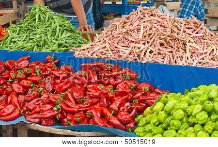 Fresh Organic Vegetables At A Turkish Street Market