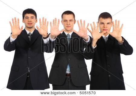 Three Young Businessmen Show Open Palms