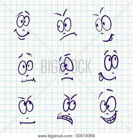 Emotion, vector set of nine face