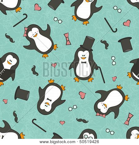 Seamless background with funny penguins