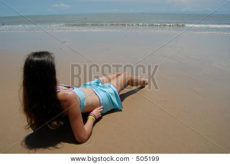 Stock Photo Of Beautiful Tall Brunette Woman On The Beach In The