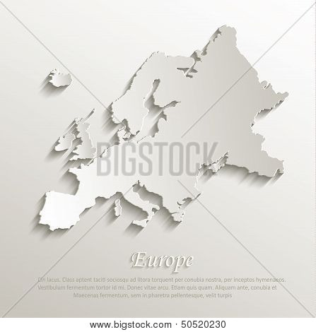 vector Europe map card paper 3D natural