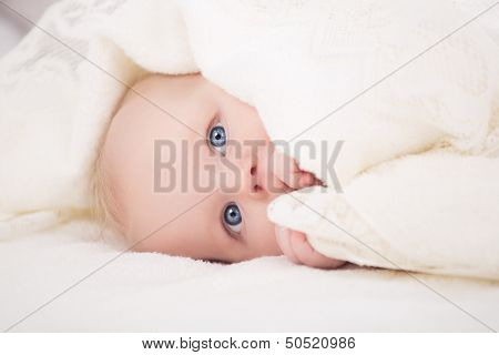 baby looking at camera under a white blanket
