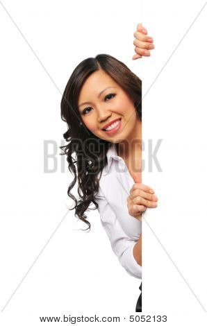 Gorgeous Asian Businesswoman Holding Blank Sign