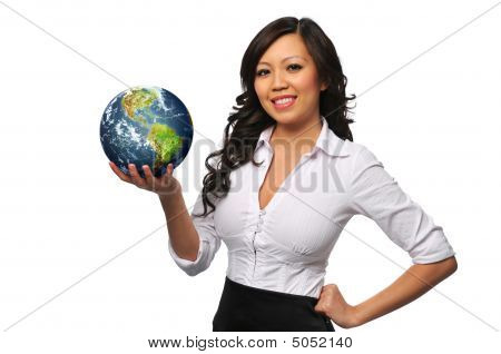Young Beautiful Asian Bisinesswoman Holding The Earth