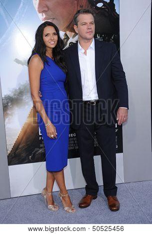 LOS ANGELES - AUG 07:  Matt Damon & Luciana Barroso arrives to