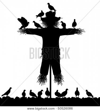 Editable vector silhouette of a flock of pigeons on a scarecrow with all figures as separate objects