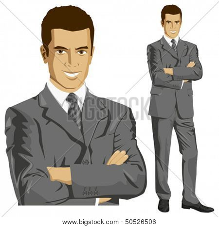 Vector business man in suit with folded hands. All layers well organized and easy to edit