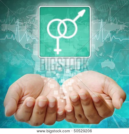 Male And Female Symbol On Hand ,medical Background
