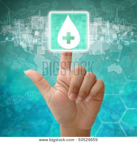 Hand Press Blood Drop Icon On Medical Background ,donate Blood