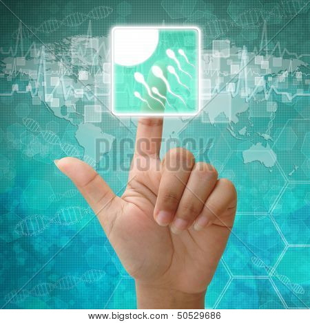 Hand Press Spermatozoon Icon On Medical Background