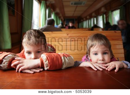 Two Children In Train