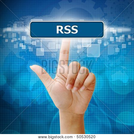 Woman's hand pressing On Touch Screen Interface Rss Button
