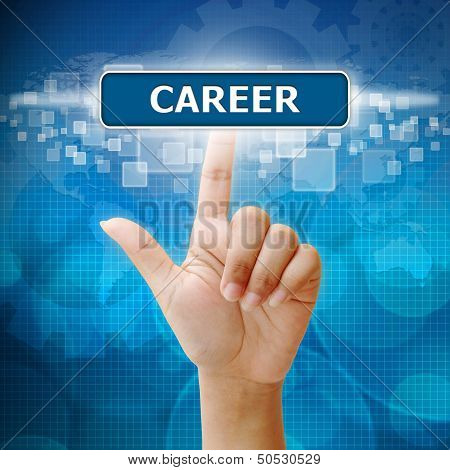 Hand Woman Press On Touch Screen Interface Career Button