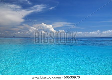 Beautiful Blue Sea And Blue Sky