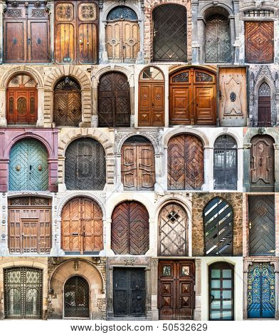 photo collage of old doors Gothic quarter in Barcelona. Spain
