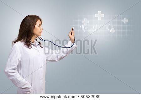 doctor for medical stethoscope luminous symbols