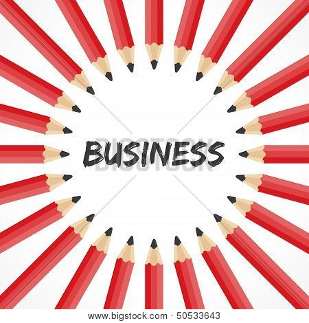 Business  word with pencil background
