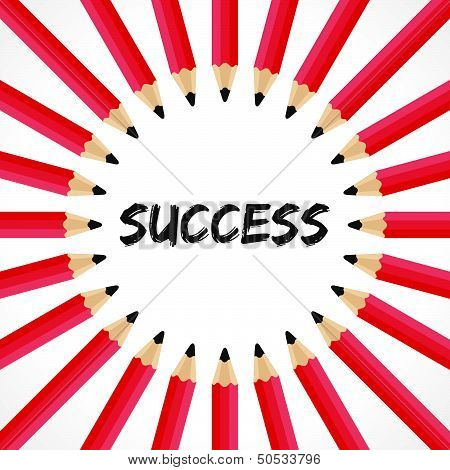 Success word with pencil background