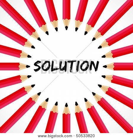 Solution word with pencil background