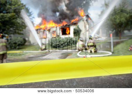 Empty  Tape With Firefighters And A Burning House