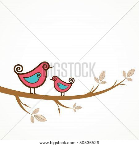 Funny vector birds on the strings
