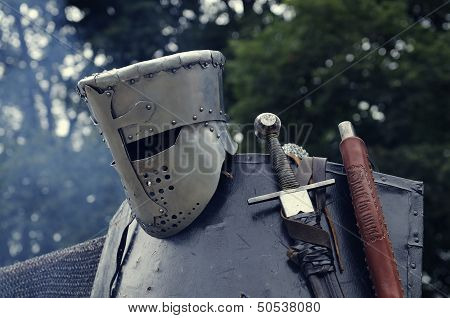 Knight Helmet With Sword