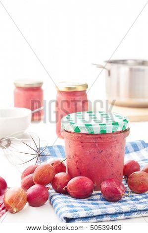 Jar of fresh homemade gooseberry jam