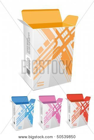 Empty package box mock-up. Vector illustration.