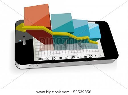 Smart phone with bar chart. Vector illustration