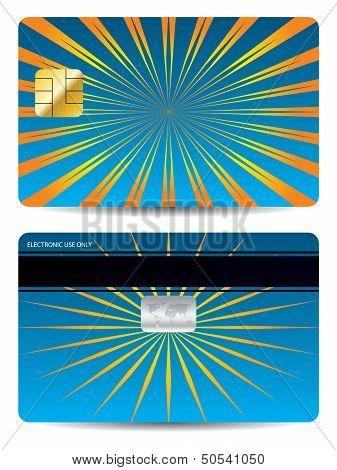 Bursting Orange Rays On Blue Bank Card