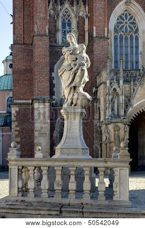 Cathedral (katedra) On Tumski Island In Wroclaw, Poland