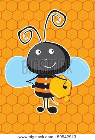 Bee with honeycomb.